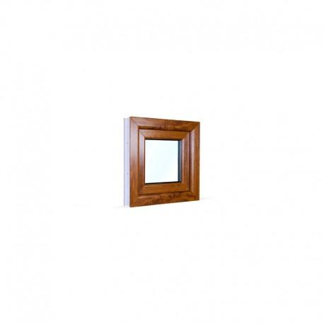 Jednokřídlé plastové okno 50x50 cm (500x500 mm), bílá|zlatý dub, otevíravé i sklopné, PRAVÉ - pohled z exteriéru