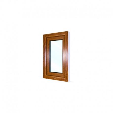 Jednokřídlé plastové okno 50x80 cm (500x800 mm), bílá|zlatý dub, otevíravé i sklopné, LEVÉ - pohled z exteriéru