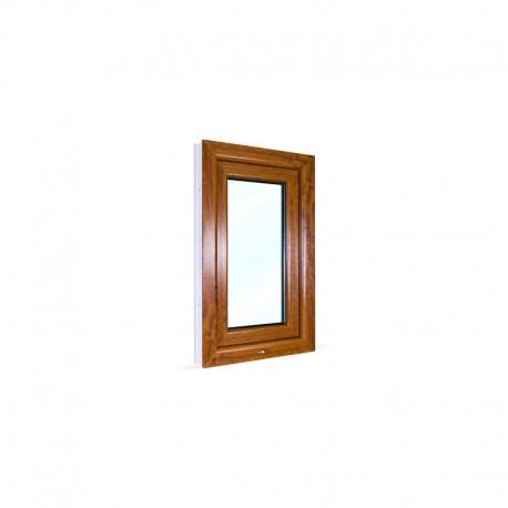 Jednokřídlé plastové okno 50x80 cm (500x800 mm), bílá|zlatý dub, otevíravé i sklopné, PRAVÉ - pohled z exteriéru