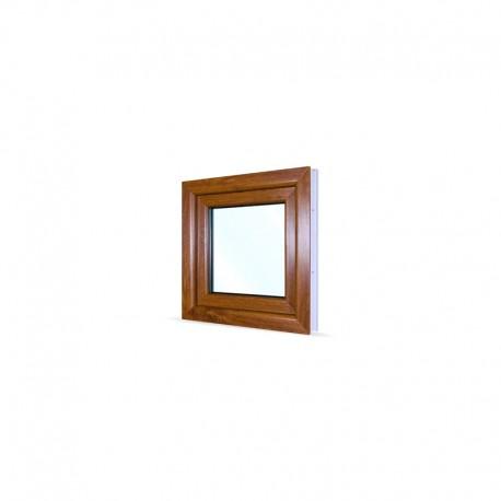 Jednokřídlé plastové okno 60x60 cm (600x600 mm), bílá|zlatý dub, otevíravé i sklopné, LEVÉ - pohled z exteriéru