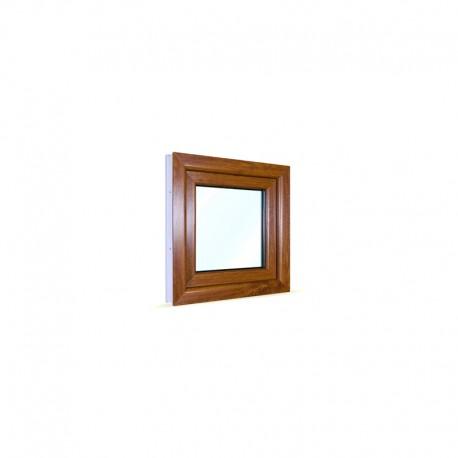 Jednokřídlé plastové okno 60x60 cm (600x600 mm), bílá|zlatý dub, otevíravé i sklopné, PRAVÉ - pohled z exteriéru