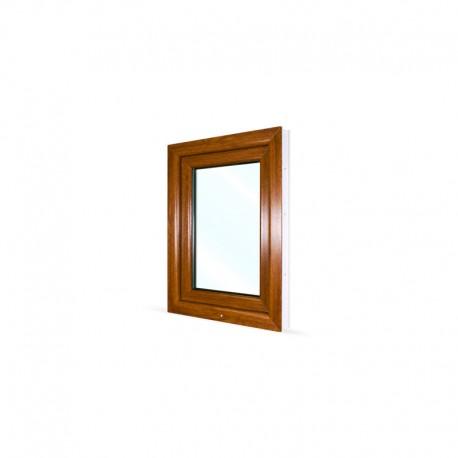 Jednokřídlé plastové okno 60x80 cm (600x800 mm), bílá|zlatý dub, otevíravé i sklopné, LEVÉ - pohled z exteriéru