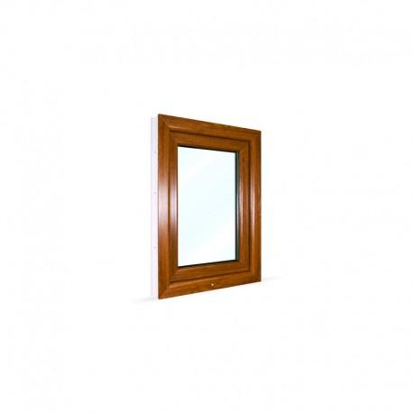 Jednokřídlé plastové okno 60x80 cm (600x800 mm), bílá|zlatý dub, otevíravé i sklopné, PRAVÉ - pohled z exteriéru