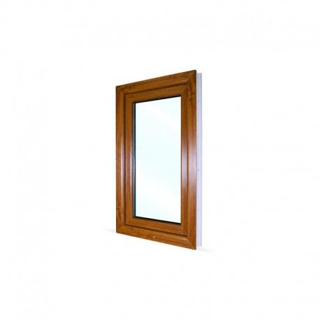 Jednokřídlé plastové okno 60x100 cm (600x1000 mm), bílá|zlatý dub, otevíravé i sklopné, LEVÉ - pohled z exteriéru