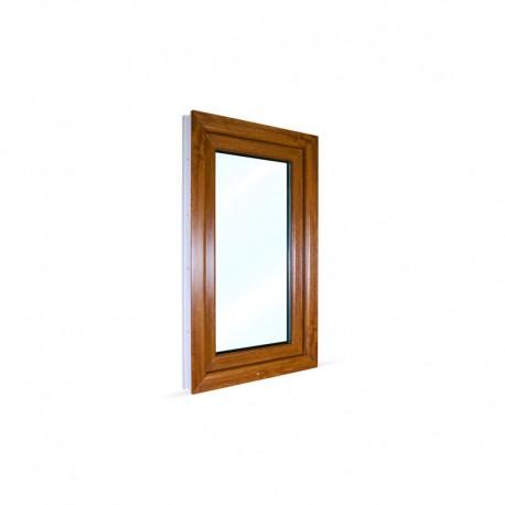 Jednokřídlé plastové okno 60x100 cm (600x1000 mm), bílá|zlatý dub, otevíravé i sklopné, PRAVÉ - pohled z exteriéru