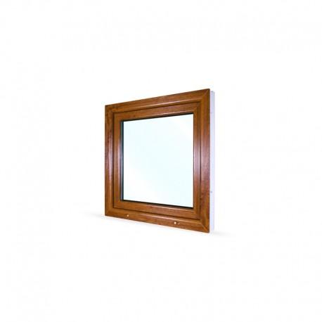 Jednokřídlé plastové okno 80x80 cm (800x800 mm), bílá|zlatý dub, otevíravé i sklopné, LEVÉ - pohled z exteriéru