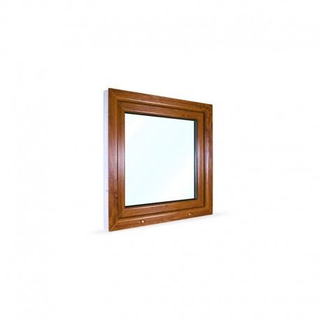 Jednokřídlé plastové okno 80x80 cm (800x800 mm), bílá|zlatý dub, otevíravé i sklopné, PRAVÉ - pohled z exteriéru