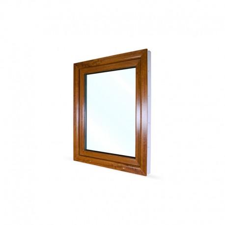 Jednokřídlé plastové okno 80x100 cm (800x1000 mm), bílá|zlatý dub, otevíravé i sklopné, LEVÉ - pohled z exteriéru