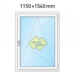 Plastové okno jednokřídlé 1150x1540 mm (115x154 cm) - otvíravo-sklopné pravé