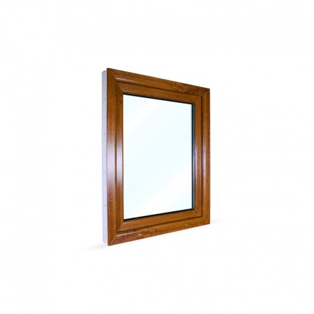 Jednokřídlé plastové okno 80x100 cm (800x1000 mm), bílá|zlatý dub, otevíravé i sklopné, PRAVÉ - pohled z exteriéru