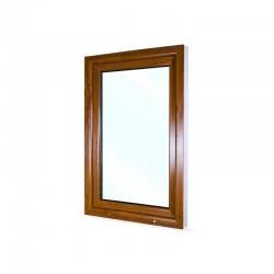 Jednokřídlé plastové okno 80x120 cm (800x1200 mm), bílá|zlatý dub, otevíravé i sklopné, LEVÉ - pohled z exteriéru