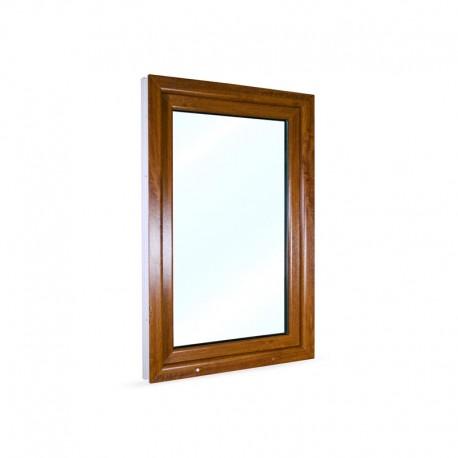 Jednokřídlé plastové okno 80x120 cm (800x1200 mm), bílá|zlatý dub, otevíravé i sklopné, PRAVÉ - pohled z exteriéru
