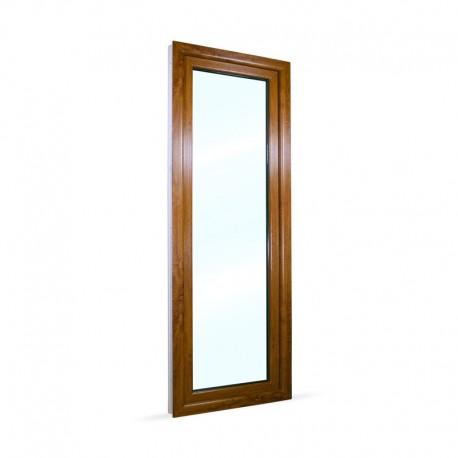 Francouzské okno na terasu - balkonové dveře 78x208 cm (780x2080 mm), bílá|zlatý dub, PRAVÉ - pohled z exteriéru
