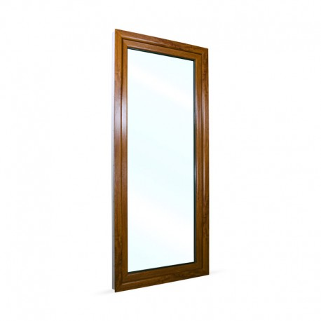 Francouzské okno na terasu - balkonové dveře 88x208 cm (880x2080 mm), bílá|zlatý dub, PRAVÉ - pohled z exteriéru