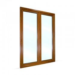 Plastové balkonové dveře dvoukřídlé se štulpem 148x208 cm (1480x2080 mm), bílá|zlatý dub, PRAVÉ - pohled z exteriéru