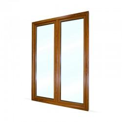 Plastové balkonové dveře dvoukřídlé se štulpem 148x208 cm (1480x2080 mm), bílá|zlatý dub, LEVÉ - pohled z exteriéru