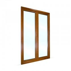 Plastové balkonové dveře dvoukřídlé se štulpem 128x208 cm (1280x2080 mm), bílá|zlatý dub, PRAVÉ - pohled z exteriéru