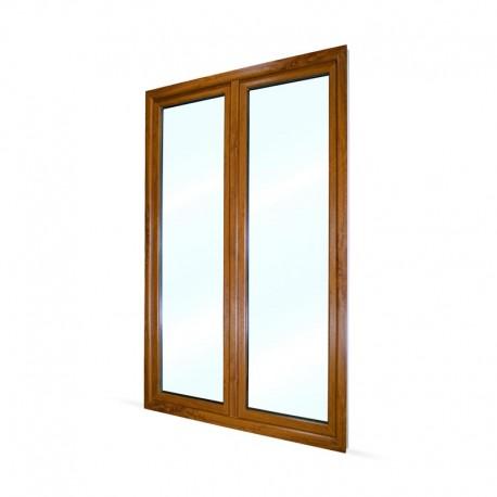Plastové balkonové dveře dvoukřídlé se štulpem 128x208 cm (1280x2080 mm), bílá|zlatý dub, LEVÉ - pohled z exteriéru