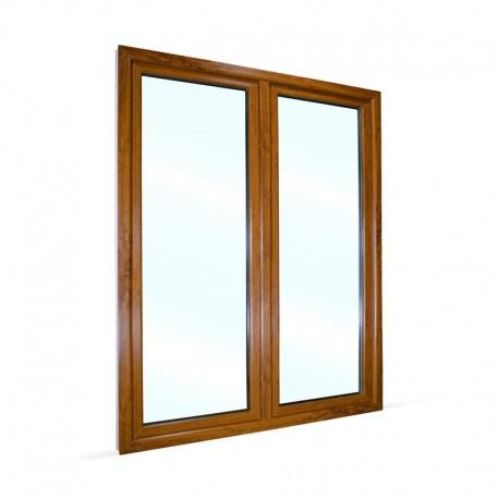 Plastové balkonové dveře dvoukřídlé se štulpem 168x208 cm (1680x2080 mm), bílá|zlatý dub, PRAVÉ - pohled z exteriéru