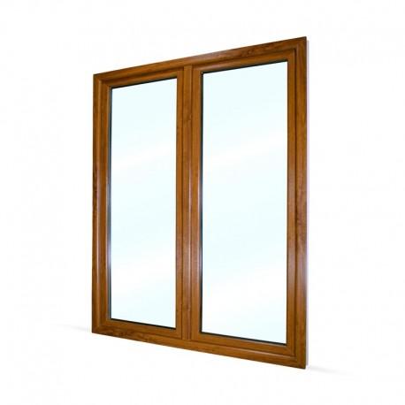 Plastové balkonové dveře dvoukřídlé se štulpem 168x208 cm (1680x2080 mm), bílá|zlatý dub, LEVÉ - pohled z exteriéru
