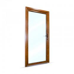 Plastové vedlejší vchodové dveře jednokřídlé 98x208 cm (980x2080 mm), prosklené, bílá|zlatý dub, PRAVÉ - pohled z exteriéru