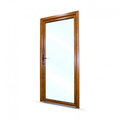 Plastové vedlejší vchodové dveře jednokřídlé 98x208 cm (980x2080 mm), prosklené, bílá|zlatý dub, LEVÉ - pohled z exteriéru