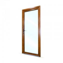 Plastové vedlejší vchodové dveře jednokřídlé 88x208 cm (880x2080 mm), prosklené, bílá|zlatý dub, LEVÉ - pohled z exteriéru