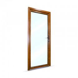 Plastové vedlejší vchodové dveře jednokřídlé 88x208 cm (880x2080 mm), prosklené, bílá|zlatý dub, PRAVÉ - pohled z exteriéru