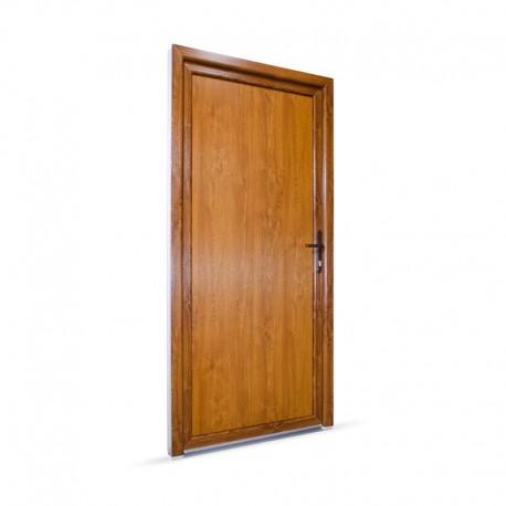 Plastové vedlejší vchodové dveře jednokřídlé 98x208 cm (980x2080 mm), plné, bílá|zlatý dub, PRAVÉ - pohled z exteriéru