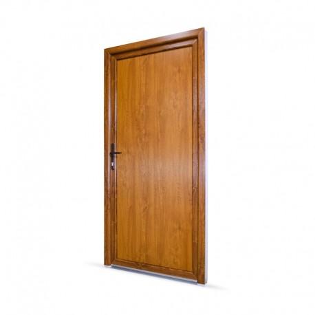 Plastové vedlejší vchodové dveře jednokřídlé 98x208 cm (980x2080 mm), plné, bílá|zlatý dub, LEVÉ - pohled z exteriéru