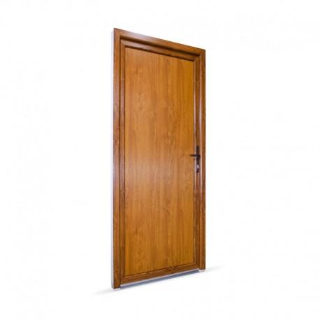Plastové vedlejší vchodové dveře jednokřídlé 88x208 cm (880x2080 mm), plné, bílá|zlatý dub, PRAVÉ - pohled z exteriéru