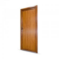 Plastové vedlejší vchodové dveře jednokřídlé 88x208 cm (880x2080 mm), plné, bílá|zlatý dub, LEVÉ - pohled z exteriéru