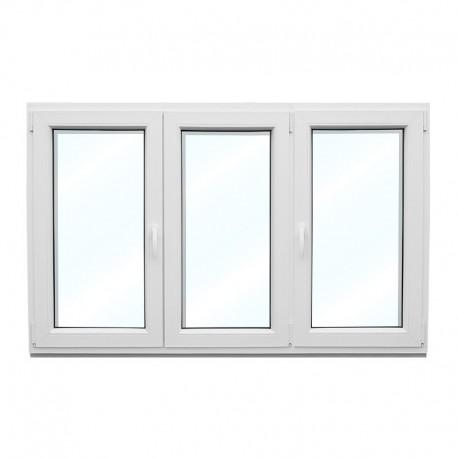 Plastové okno trojkřídlé se štulpem a sloupkem 208x154 cm (2080x1540 mm), bílé
