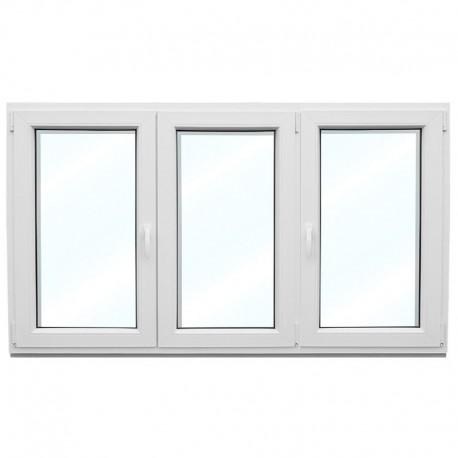 Plastové okno trojkřídlé se štulpem a sloupkem 238x154 cm (2380x1540 mm), bílé
