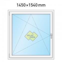 Plastové okno jednokřídlé 1450 x 1540 mm - levé