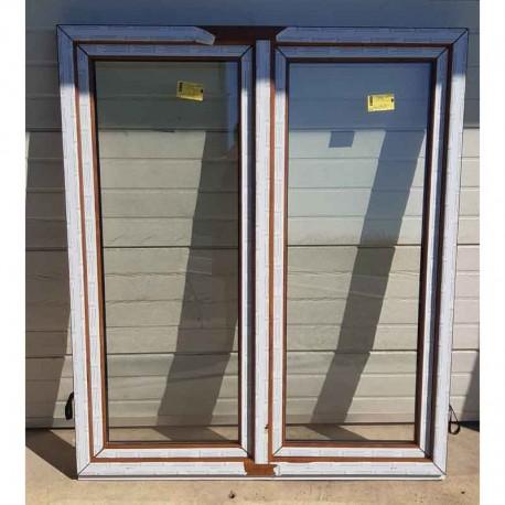 Plastové okno dvoukřídlé se sloupkem 154x180 cm (1540x1800 mm), bílá|zlatý dub, PRAVÉ