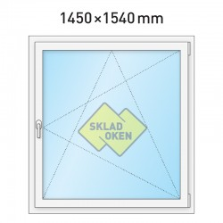 Plastové okno jednokřídlé 1450 x 1540 mm - pravé