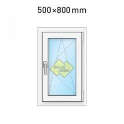 Plastové okno jednokřídlé 500x800 mm (50x80 cm) - otvíravo-sklopné pravé