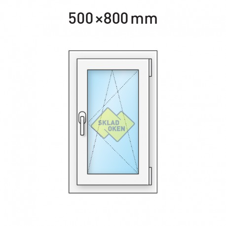 Plastové okno jednokřídlé 500 x 800 mm - pravé