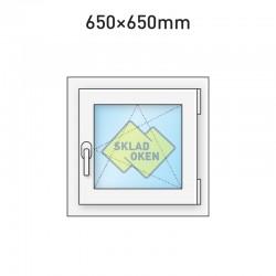 Plastové okno jednokřídlé 650x650 mm (65x65 cm) - otvíravo-sklopné pravé