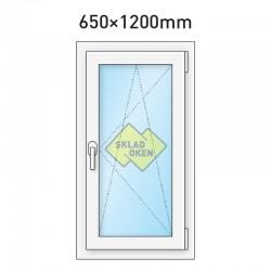 Plastové okno jednokřídlé 650x1200 mm (65x120 cm) - otvíravo-sklopné pravé