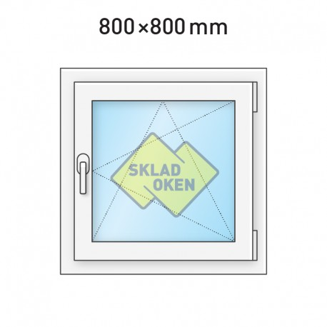 Plastové okno jednokřídlé 800 x 800 mm - pravé