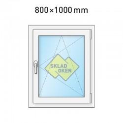 Plastové okno jednokřídlé 800x1000 mm (80x100 cm) - otvíravo-sklopné pravé