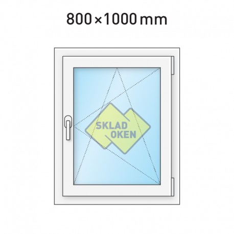 Plastové okno jednokřídlé 800 x 1000 mm - pravé