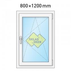 Plastové okno jednokřídlé 800x1200 mm (80x120 cm) - otvíravo-sklopné pravé