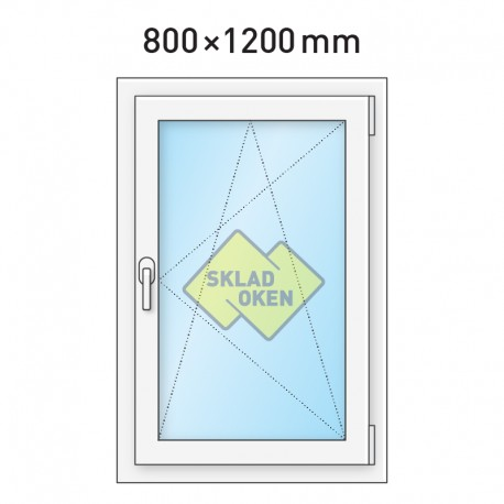 Plastové okno jednokřídlé 800 x 1200 mm - pravé