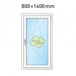 Plastové okno jednokřídlé 800x1400 mm (80x140 cm) - otvíravo-sklopné pravé