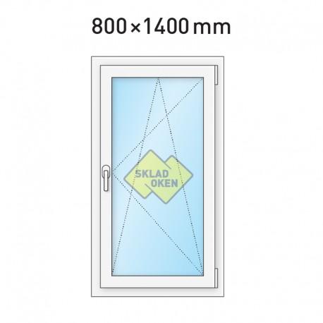 Plastové okno jednokřídlé 800 x 1400 mm - pravé