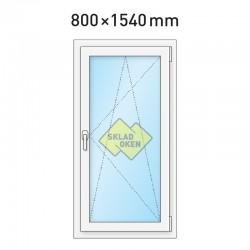 Plastové okno jednokřídlé 800x1540 mm (80x154 cm) - otvíravo-sklopné pravé