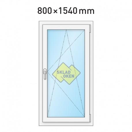 Plastové okno jednokřídlé 800 x 1540 mm - pravé